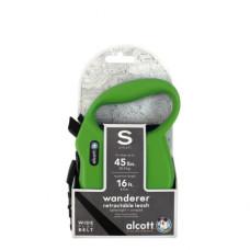 ALCOTT - Рулетка для собак до 20кг, 5м, лента, антискользящая ручка, зеленая (WANDERER)
