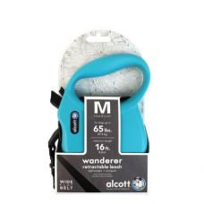 ALCOTT - Рулетка для собак до 30кг, 5м, лента, антискользящая ручка, голубая (WANDERER)