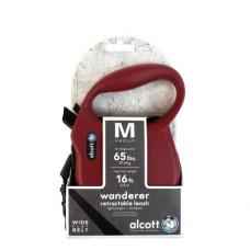 ALCOTT - Рулетка для собак до 30кг, 5м, лента, антискользящая ручка, бордовая (WANDERER)