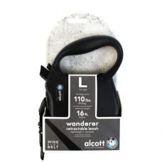 ALCOTT - Рулетка для собак до 11кг, 3м, лента, антискользящая ручка, черная (ADVENTURE)