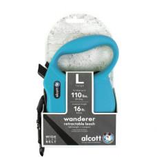 ALCOTT - Рулетка для собак до 50кг, 5м, лента, антискользящая ручка, голубая (WANDERER)