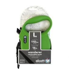 ALCOTT - Рулетка для собак до 50кг, 5м, лента, антискользящая ручка, зеленая (WANDERER)