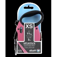 ALCOTT - Рулетка для собак до 11кг, 3м, лента, антискользящая ручка, розовая  (ADVENTURE)