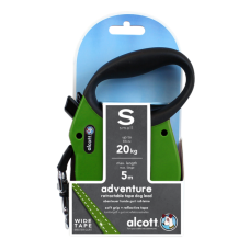 ALCOTT - Рулетка для собак до 20кг, 5м, лента, антискользящая ручка, зеленая (ADVENTURE)