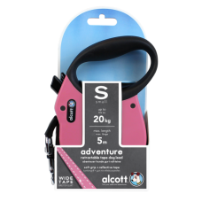 ALCOTT - Рулетка для собак до 20кг, 5м, лента, антискользящая ручка, розовая (ADVENTURE)