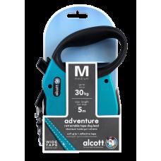 ALCOTT - Рулетка для собак до 30кг, 5м, лента, антискользящая ручка, голубая (ADVENTURE)