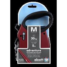 ALCOTT - Рулетка для собак до 30кг, 5м, лента, антискользящая ручка, бордовая (ADVENTURE)