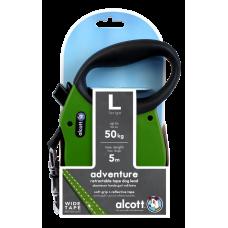 ALCOTT - Рулетка для собак до 50кг, 5м, лента, антискользящая ручка, зеленая (ADVENTURE)