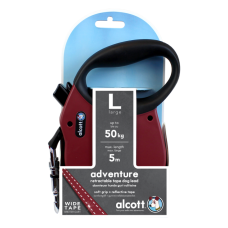 ALCOTT - Рулетка для собак до 50кг, 5м, лента, антискользящая ручка, бордовая (ADVENTURE)