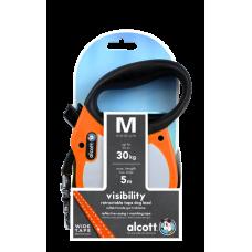 ALCOTT - Рулетка для собак до 30кг, 5м, лента, антискользящая ручка, неон оранж (VISIBILITY)