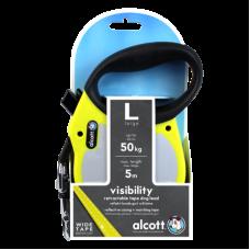 ALCOTT - Рулетка для собак до 50кг, 5м, лента, антискользящая ручка, чёрно-желтая (VISIBILITY)
