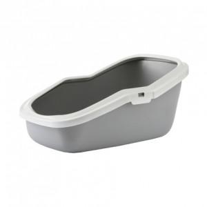 Туалет для кошек, с насадкой, серый, 56x39x27.5см (ASEO)