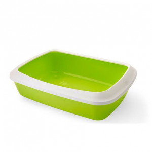 Туалет для кошек, с насадкой бортиком, светло-зеленый, 42х31х12,5см (IRIZ)