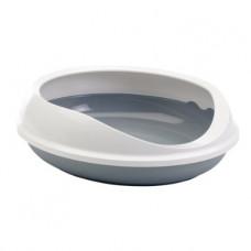 Savic - Туалет для кошек, овальный с бортом, серый, 55x48x15.5см (FIGARO)