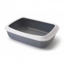 Savic - Туалет для кошек, с насадкой бортиком, серый, 50x37x14см (IRIZ)