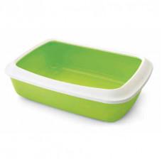 Savic - Туалет для кошек, с насадкой бортиком, светло-зеленый, 50x37x14см (IRIZ)
