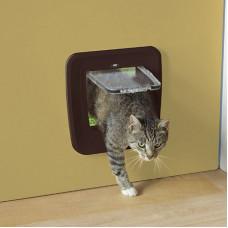 Savic Дверь-створка для кошек 4 положения, коричневая 28,5*29,5* см S3602