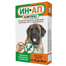 Астрафарм - Ин-Ап комплекс, Капли для собак и щенков 30-50 кг против блох, клещей, вшей, власоедов и гельминтов, 1 пипетка 5 мл.