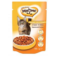 Мнямс паучи для взрослых кошек с курицей в соусе, идеальный баланс