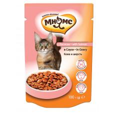 Мнямс паучи для взрослых кошек с лососем в соусе, кожа и шерсть
