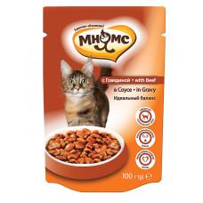 Мнямс паучи для взрослых кошек с говядиной в соусе, идеальный баланс