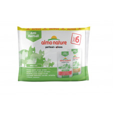 Almo Nature - Набор паучей для вывода шерсти, с говядиной и курицей, 6шт. по 70гр. (PFC DAILY FUNCTIONAL CATS MULTI ANTI-HAIRBALL WITH BEEF AND ANTI-HAIRBALL WITH CHICKEN) 529293MULTI