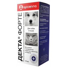 Apicenna - Декта Форте - Капли для собак и кошек, лечение и профилактика при отодектозе, саркоптозе и нотоэдрозе, 10 мл