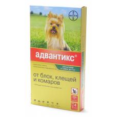 Bayer - Адвантикс - Капли для щенков и собак до 4 кг от блох, клещей и глистов, 4 пипетки по 0,4 мл