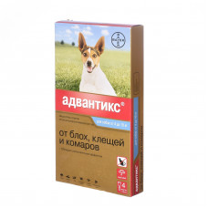 Bayer - Адвантикс - Капли для щенков и собак от 4 до 10 кг от блох, клещей и глистов, 4 пипетки по 4 мл