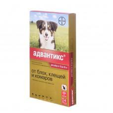 Bayer - Адвантикс - Капли для щенков и собак от 10 до 25 кг от блох, клещей и глистов, 4 пипетки по 2,5 мл