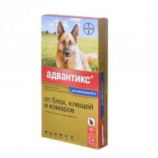 Bayer - Адвантикс - Капли для щенков и собак от 25 кг от блох, клещей и глистов, 4 пипетки по 4 мл