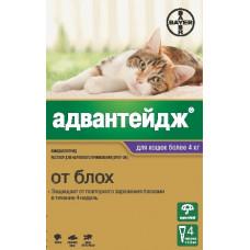 Bayer - Адвантейдж - Капли на холку для котят и кошек более 4 кг от блох, 4 пипетки по 0,8 мл