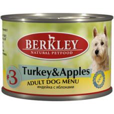 Berkley - Консервы Лайт для собак с индейкой, ягненком и яблоками (Light Menu)