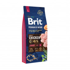 Brit - Сухой корм для щенков и молодых собак крупных пород, с курицей, Premium by Nature Junior L