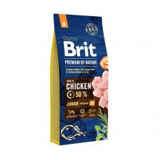 Brit корм для щенков и молодых собак средних пород, с курицей, Premium by Nature Junior M