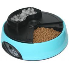 Feedex - Автокормушка на 4 кормления для сухого корма и консервов, с емкостью для льда Голубая