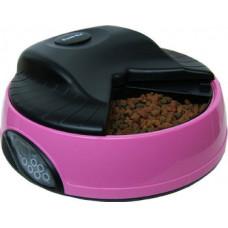 Feedex - Автокормушка на 4 кормления для сухого корма и консервов, с емкостью для льда Розовая