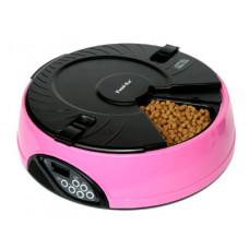 Feedex - Автокормушка на 6 кормлений для сухого корма и консерв Розовая