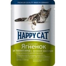 Happy cat - Кусочки в желе с ягненком, теленком и зеленой фасолью