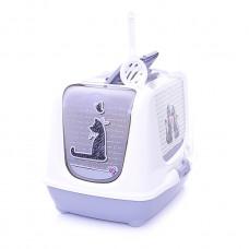 Moderna - Туалет-домик Trendy cat с угольным фильтром и совком, 57х45х43, Влюбленные коты