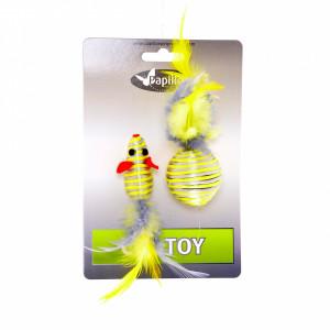 """Papillon -  """"Мышка и мячик с перьями"""" 5+4см серебряно-золотые"""