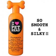 """Pet Head - Крем-ополаскиватель для собак для длинной шерсти, черничный, с овсянкой, экстрактами кактуса и календулы, """"Пушистик"""", без сульфатов и парабенов"""