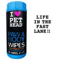 """Pet Head - Салфетки гипоаллергенные &""""Цитрусовый бум&"""" для лап и тела, 50 шт."""