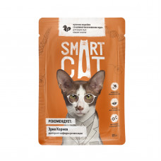 Smart Cat - Паучи для взрослых кошек и котят кусочки индейки со шпинатом в нежном соусе