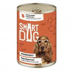 Smart Dog - Консервы для взрослых собак и щенков кусочки индейки в нежном соусе