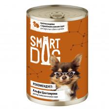 Smart Dog - Консервы для взрослых собак и щенков кусочки индейки с перепелкой в нежном соусе