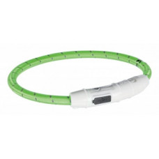 Trixie - Мигающий ошейник USB, L–XL: 65 см,  нейлон, зелёный 12702