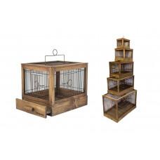 """Yami-Yami - Клетка для птиц """"Под старину"""" большая, деревянная, цвет палисандр 71*33,5*51"""