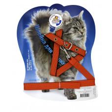 Зооник - Шлейка с поводком 1,5м для кошек оранжевая
