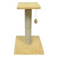 Зооник - Когтеточка на подставке, цв.мех, сизаль, с полочкой